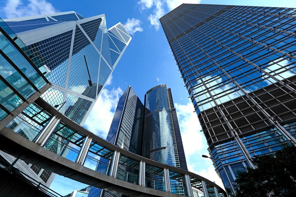 Upward view of glass buildings