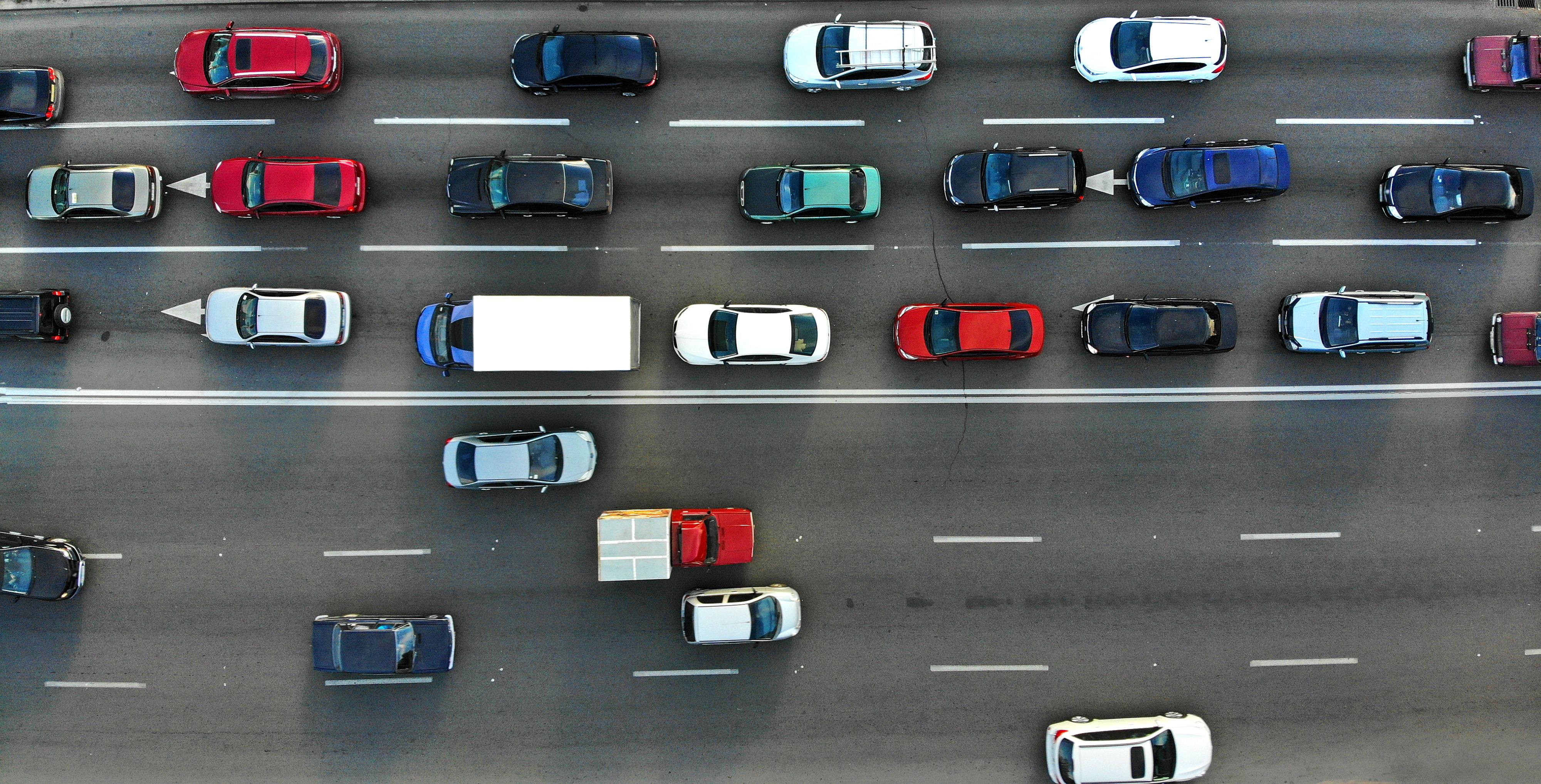 overhead shot of highway