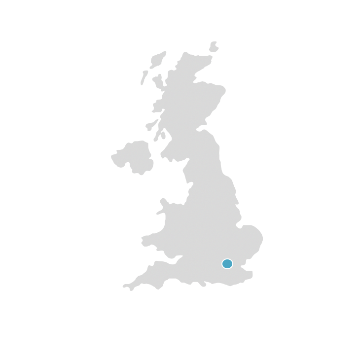 Map of England with dot indicating office that covers International
